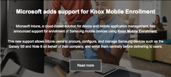 Microsoft adds support for Knox Mobile Enrollment