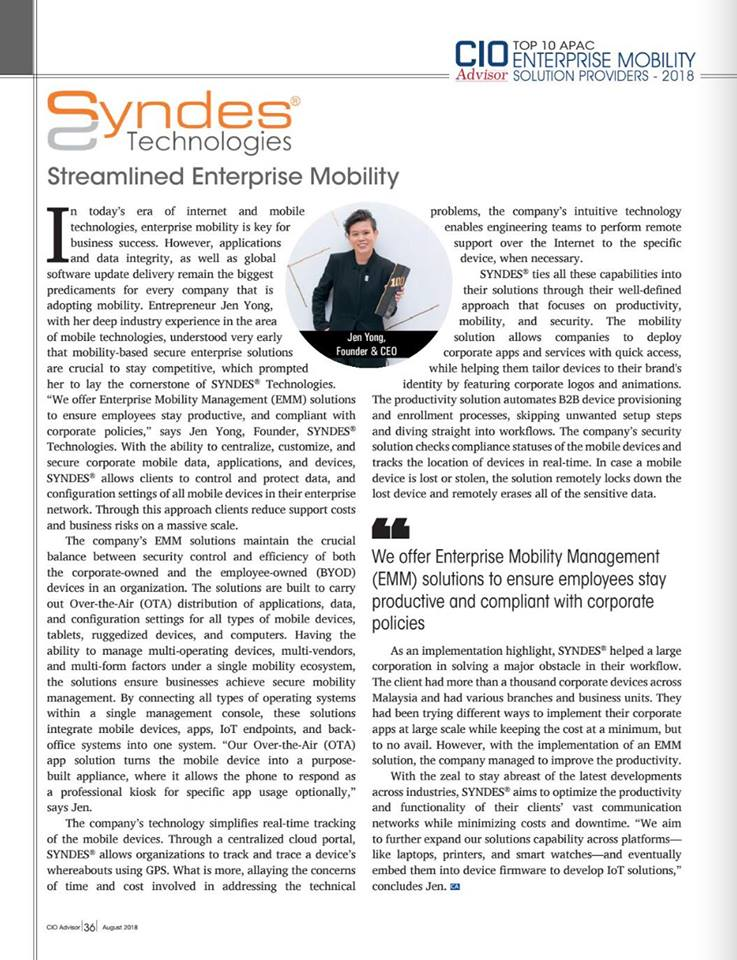 SYNDES Technologies: Streamlined Enterprise Mobility